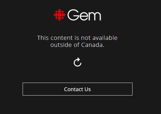 CBC Gemin viesti, kun yrität katsoa kanavaa ilman VPN-yhteyttä Kanadan ulkopuolella