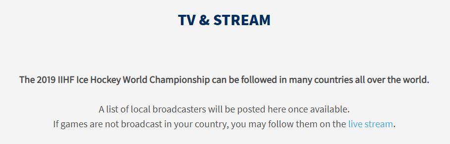 IIHF Jääkiekkoliiton viesti televisioinnista